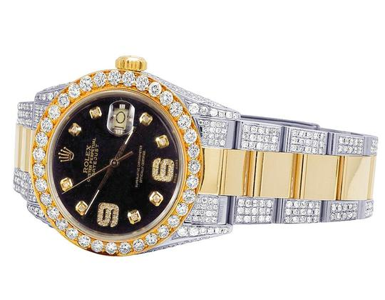 Rolex 18K/ Steel Two Tone Datejust 36MM 16013 Black Dial Diamond Watch 10 Ct Image 2
