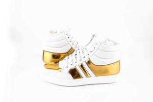 Gucci * Gold/White White/Gold Contrast Padded High-top Shoes