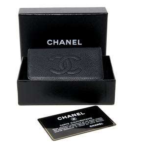 Chanel Signature Caviar Leather CC Logo 6 Ring Key Case Pouch Wallet