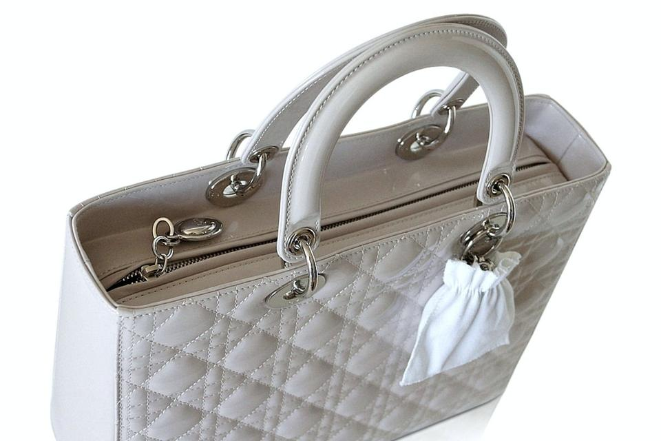 b471337f81e Dior Lady Pearl Quilted Cannage Large Gray Patent Leather Tote - Tradesy