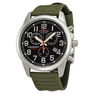 Citizen Eco-Drive Chronograph Black Dial Men's Canvas Watch