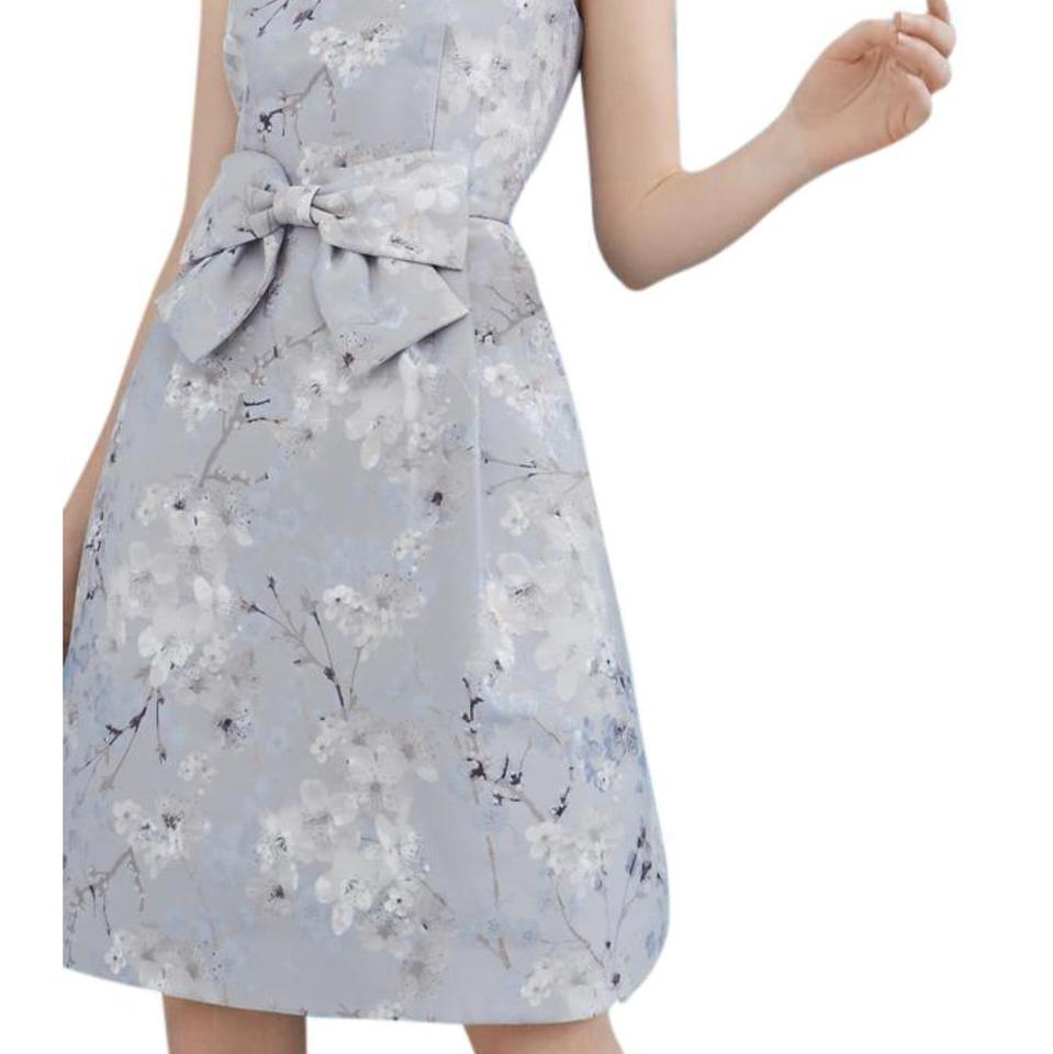 Ted baker light grey quett blossom jacquard bow short cocktail dress 123 ombrellifo Choice Image