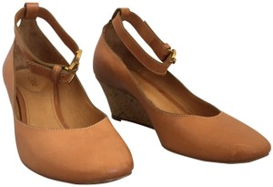 Chloé Leather Cork Brown Tan Wedges
