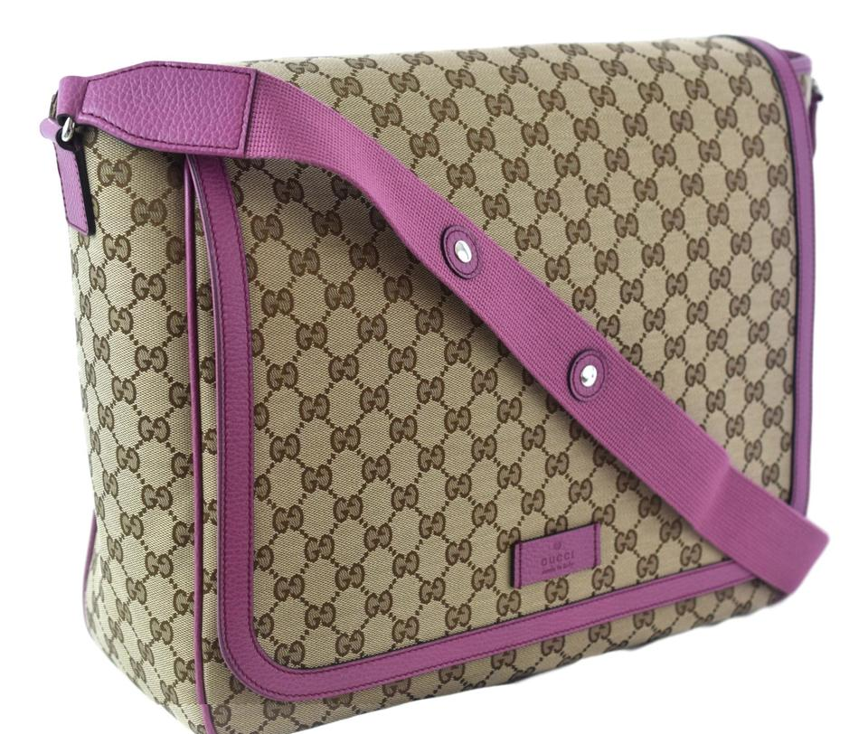 342f45824957 Gucci Diaper Bag Pink Trim. Gucci 510340 Supreme with Changing Pad  Brown/Pink Leather Trim Gg Canvas ...