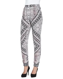 Twelfth St. by Cynthia Vincent Silky Snakeskin Printed Pleated Tapered Leg Skinny Pants Pastel