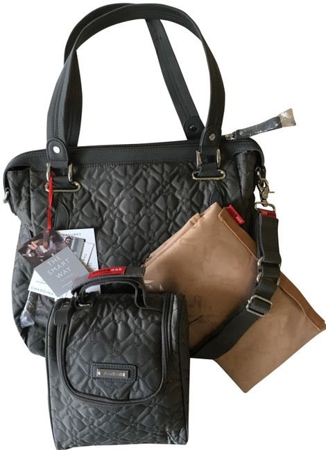 Item - Anna Quilted Charcoal Gray Nylon Diaper Bag
