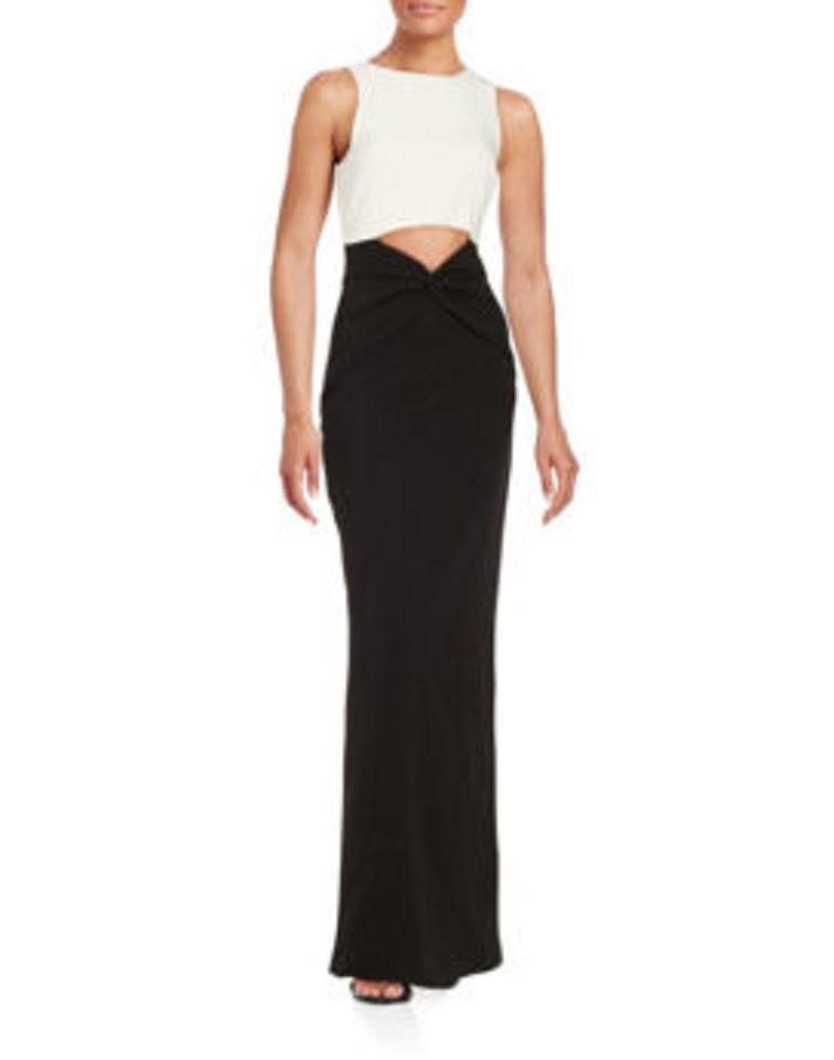 Nicole Miller White/Black Contrast Cutout Gown In (White/Black) Long ...
