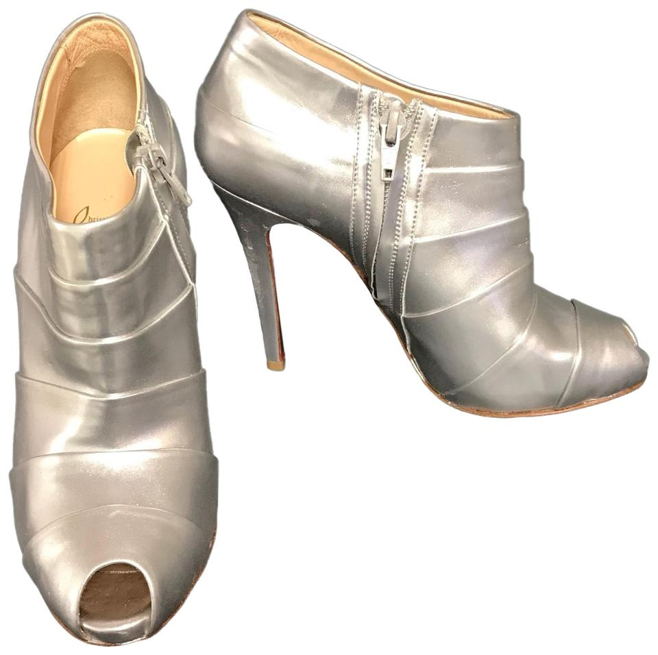 toe Silver Boots Booties Leather Christian Louboutin Peep qR7Ox7Pt