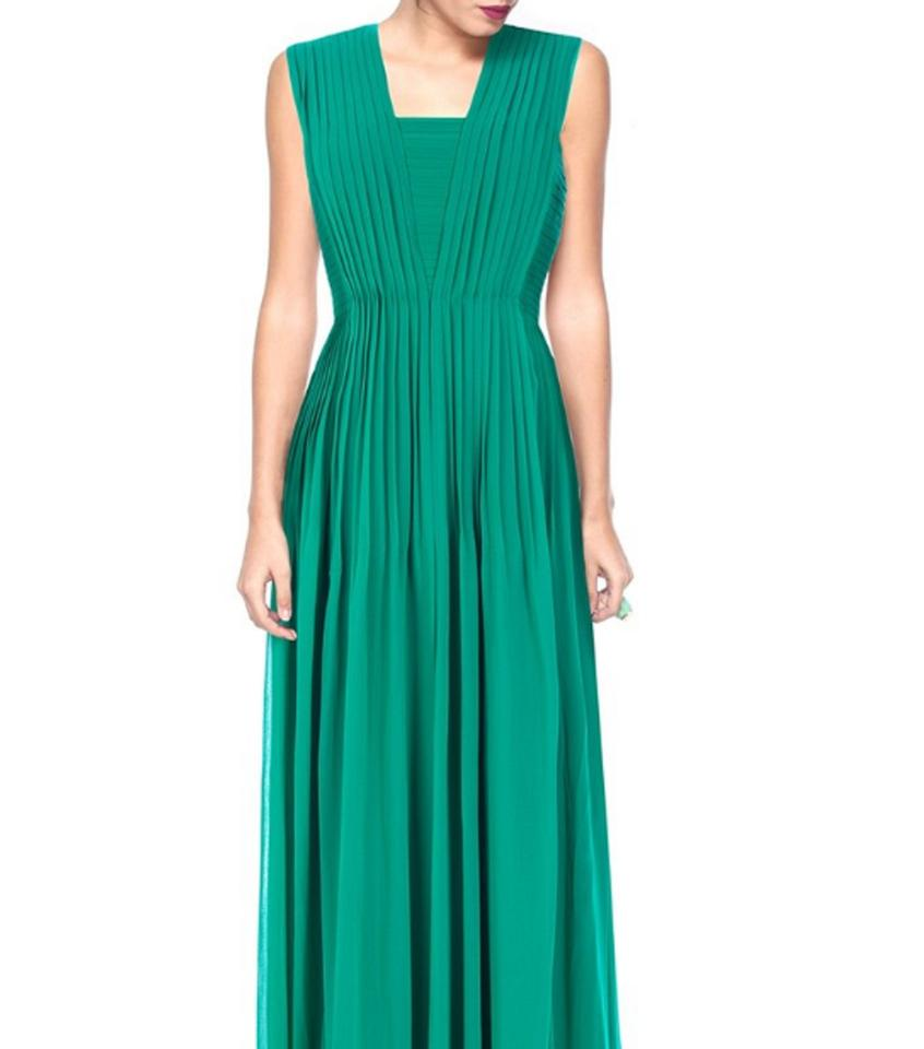 Badgley Mischka Green Emerald Evening Gown Long Formal Dress Size 14 ...