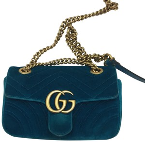 7306f0962c0 Added to Shopping Bag. Gucci Cross Body Bag. Gucci Marmont Gg Mini In  Petrol Blue Teal Velvet ...