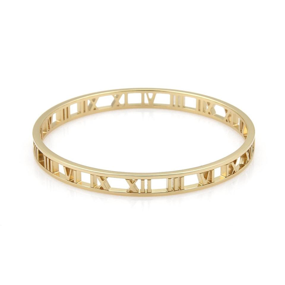 Tiffany Co Open Atlas Roman Numeral 18k Yellow Gold 6 5mm Wide Bangle