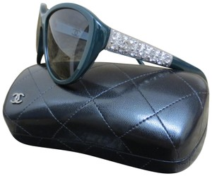 Chanel CHANEL Green and Silver Crystals Bijou Polarized Sunglasses 5298-B-A