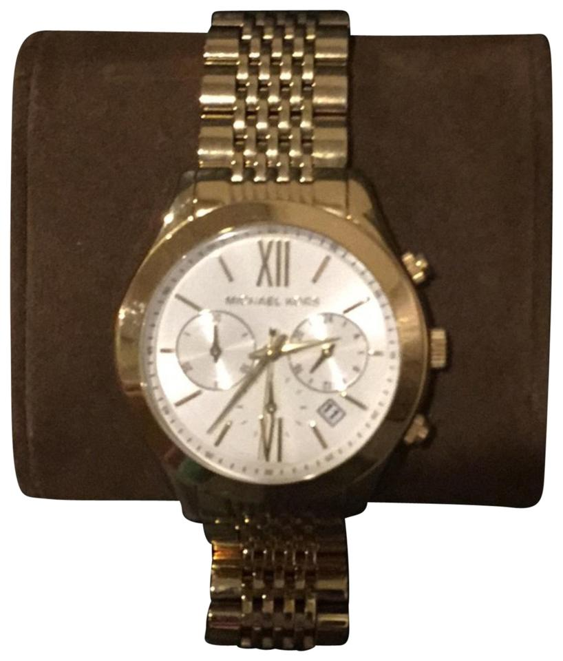 d8b7e4c5a9e6 Michael Kors Gold Large with White Face Watch - Tradesy