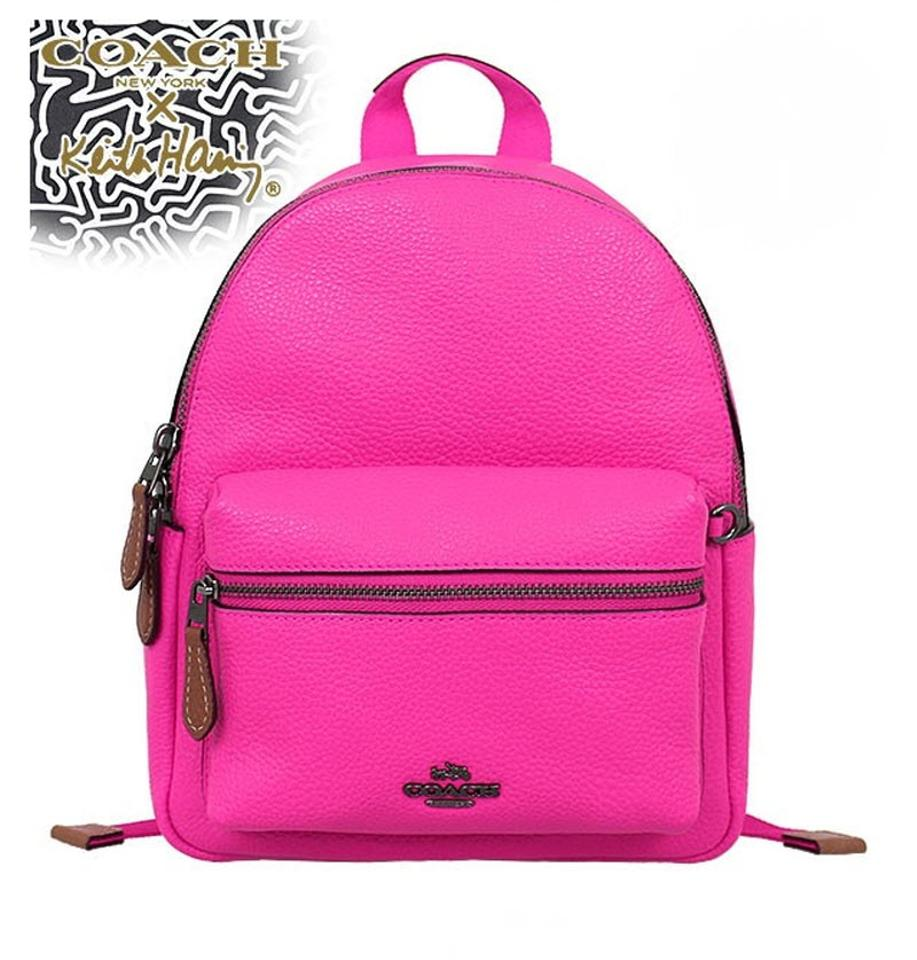 Coach X Keith Haring Mini Charlie Bright Fuchsia Pink Leather Charles Ampamp Messenger Limited Edition Backpack