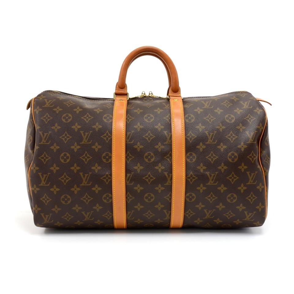 louis vuitton duffle keepall vintage 45 monogram brown canvas weekend travel bag tradesy. Black Bedroom Furniture Sets. Home Design Ideas