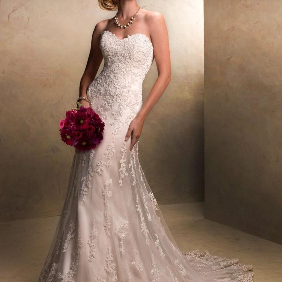 Maggie Sottero Lace Wedding Gown: Maggie Sottero Light Gold Lace Emma Vintage Wedding Dress