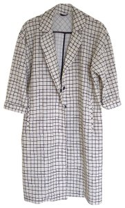 Topshop Duster Coat Checked Pattern Coat Cream/White and Black Jacket