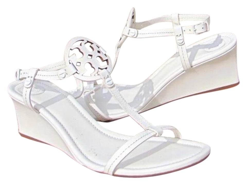 7bbaa9080 Tory Burch White T Bleach Miller Wedge Sandals Size US 10.5 Regular ...