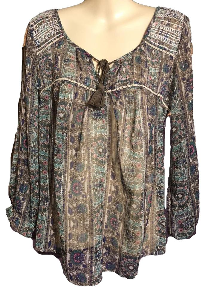 b0416eaf American Eagle Outfitters Top brown Blue turquoise pink white cream Image 0  ...