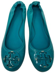 Tory Burch Gold Hardware Reva Round Toe Ballerina Patent Leather Blue Flats