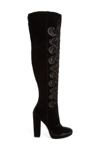 Jessica Simpson Thigh High Stiletto Platform Kitten Suede Black Boots