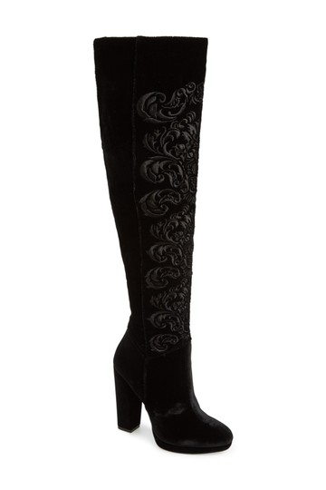 Jessica Simpson Thigh High Stiletto Platform Kitten Suede Black Boots Image 1