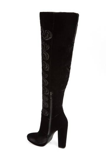 Jessica Simpson Thigh High Stiletto Platform Kitten Suede Black Boots Image 2
