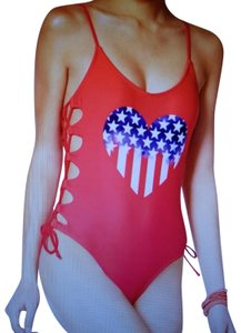 California Waves Red Patriotic Heart Laced One Piece Swimsuit L(12)