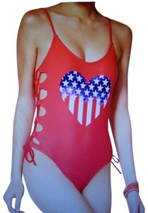 California Waves Red Patriotic Heart Laced One Piece Swimsuit M(8)