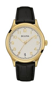 Bulova Bulova Men's 97B147 Quartz Gold- Case Black Leather Band 40mm Watch