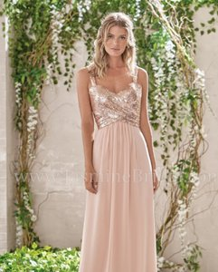 Jasmine Bridal Rose Gold Sequin Ii/Poly Chiffon B193005 Long Sweetheart Neckline Dre Formal Bridesmaid/Mob Dress Size 10 (M)