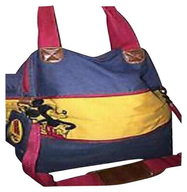 Item - Mickey Mouse Unisex Retro Expandable Blue Denim Yellow and Red Cross Body Bag