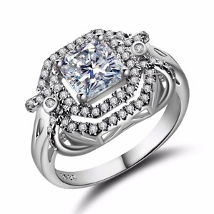 Other SHUANGR Handmade Jewelry 2016 New Fashion Clear CZ Ring in White Gold-Color with AAA Imitation , Carat Total Weight 8