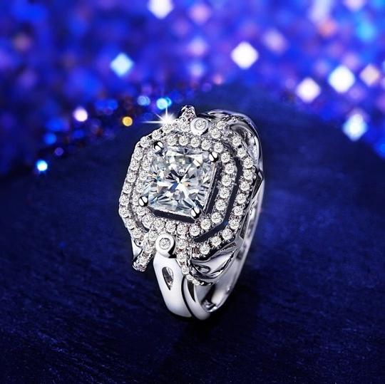 Other SHUANGR Handmade Jewelry 2016 New Fashion Clear CZ Ring in White Gold-Color with AAA Imitation , Carat Total Weight 8 Image 4