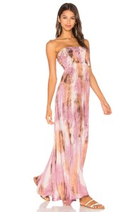 Mauve & Cream Wood Tie-Dye Maxi Dress by Tiare Hawaii