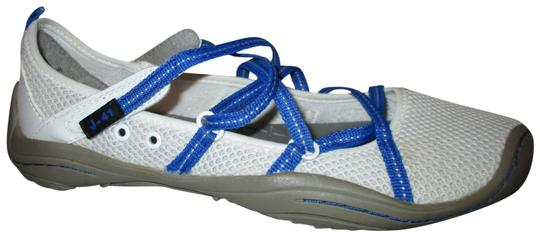 J-41 Barefoot Mesh Light Weight white & blue Athletic Image 0