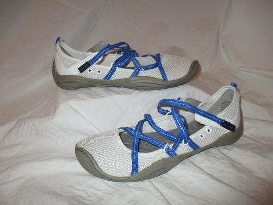 J-41 Barefoot Mesh Light Weight white & blue Athletic Image 1