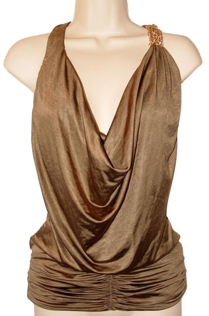 Item - Jersey Gold Chain Ruched Plunge Cowl Neck Halter Bronze Top