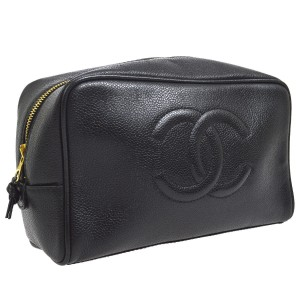 Chanel Chanel Black Leather Cosmetic Jewelry Bag