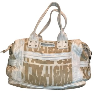 Guess Satchel in taupe and white
