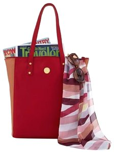 Joy Mangano Leather Tote in Red and camel