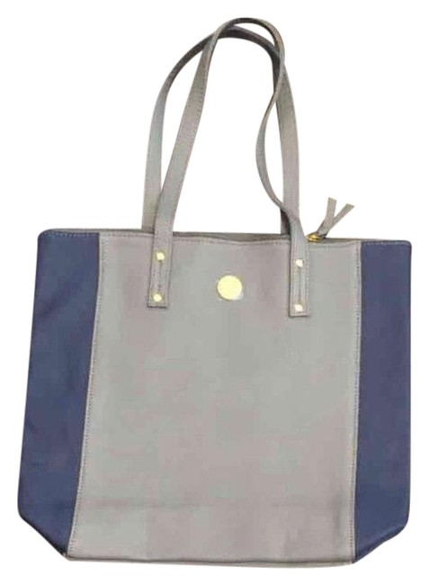 Item - genuine with Rfid Protection. Gray and Blue Leather Tote