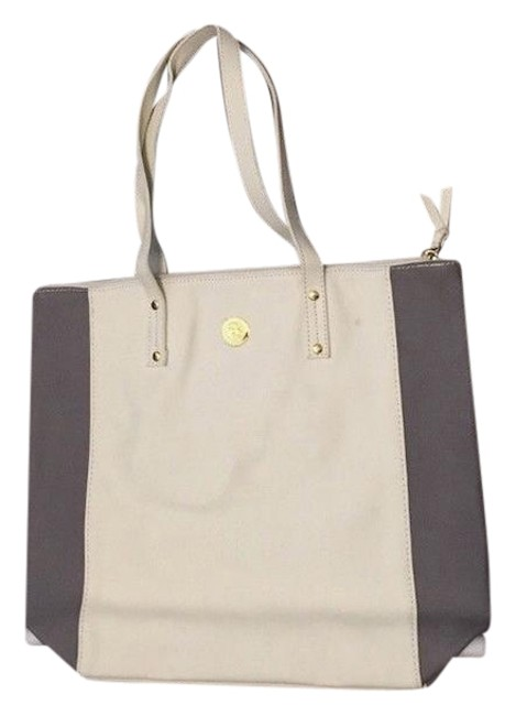 Item - Genuine White and Gray Leather Tote