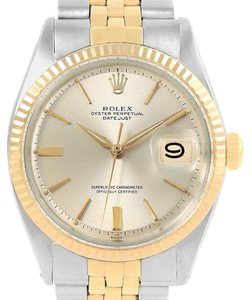 Rolex Rolex Datejust Steel Yellow Gold Silver Dial Vintage Mens Watch 1601