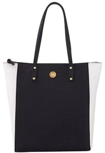 Joy Mangano Leather Tote in Black and White