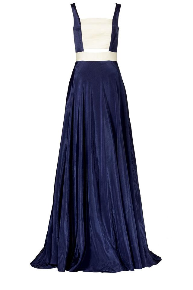 Blue Cutout Lined Polyester Sleeveless Ball Gown Maxi Long Formal ...