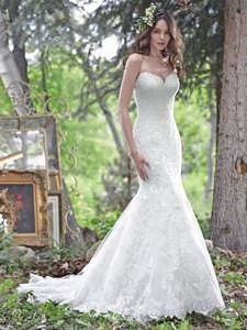 Maggie Sottero White Lace Cadence Traditional Wedding Dress Size 12 (L)