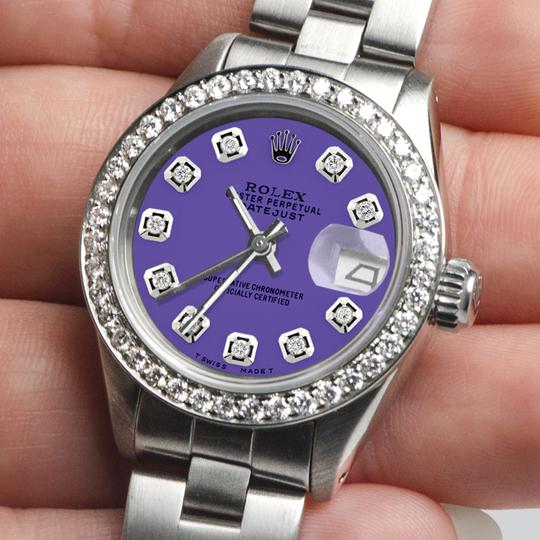 Rolex Datejust Ladies 26mm Steel Oyster w/Lavender Dial & Diamond Bezel Image 1