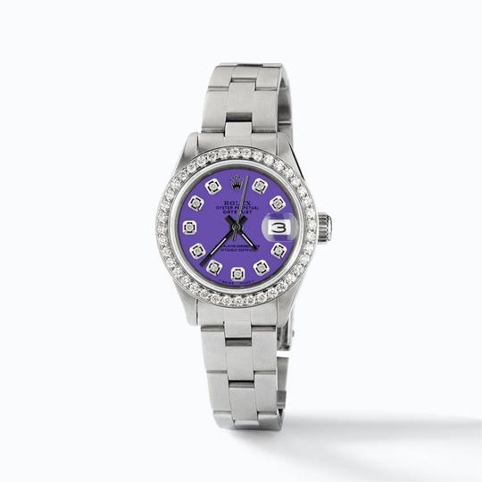 Rolex Datejust Ladies 26mm Steel Oyster w/Lavender Dial & Diamond Bezel Image 2