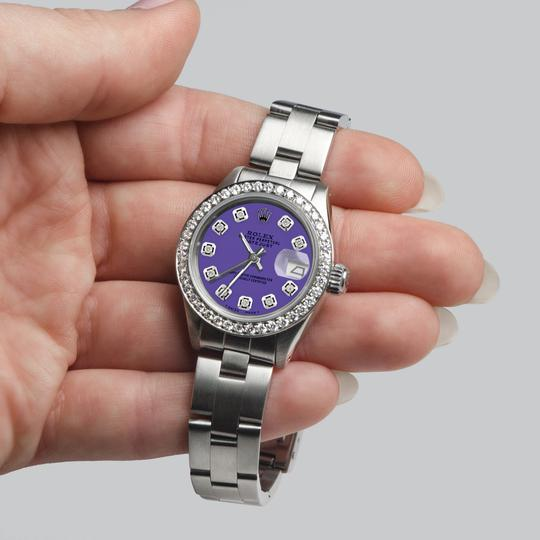 Rolex Datejust Ladies 26mm Steel Oyster w/Lavender Dial & Diamond Bezel Image 4
